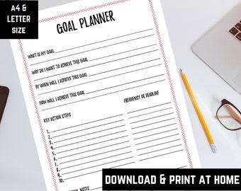 Goal Planner, Goal Chart, Habit Tracker, PDF Instant Download