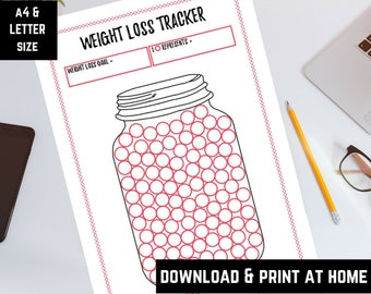 Weight loss tracker, weight loss printable, weight loss goals