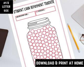 Student loan repayment mason jar tracker, student debt payoff, debt free