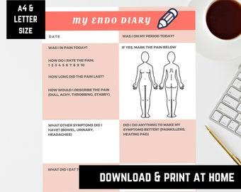 Endo diary, Endometriosis symptoms tracker, Pain diary
