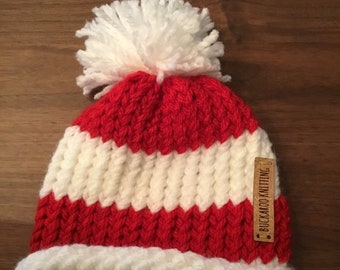 4a00f60658b0a Candy cane striped infant sized hat
