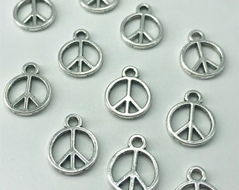 10 Peace Sign Charms Antiqued Silver World Peace Jewelry Supplies 13mm