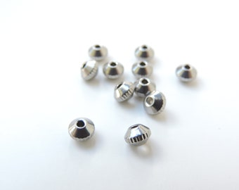 silver 20 stainless steel beads large hole pearl 8 x 2.50 mm