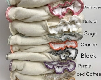 3 PACK - One Size Fitted Cloth Diapers - Certified Organic (CUSTOM COLORS)