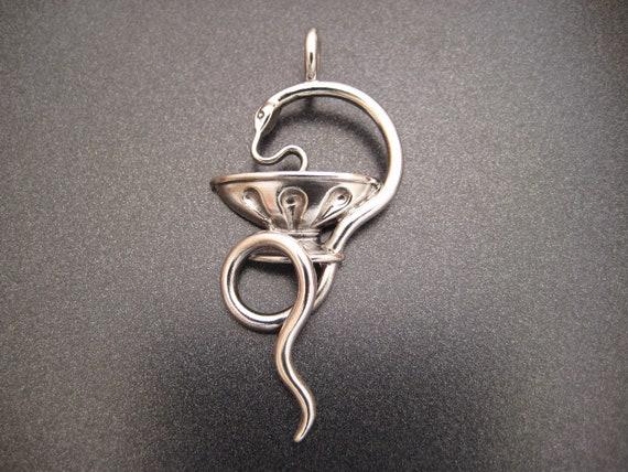 Sterling Bowl of Hygieia Keychain