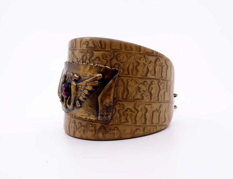 Egyptian bracelet with flying snakes Egyptian costume Wide cuff bracelets for women Egyptian symbols Egyptian hieroglyphics