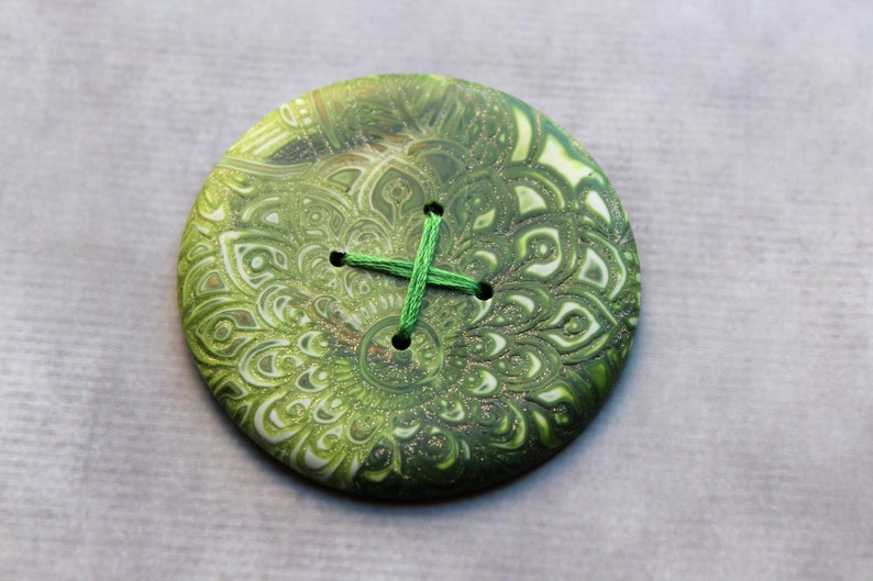 Extra large buttons Floral buttons Green buttons  Polymer clay buttons  OOAK