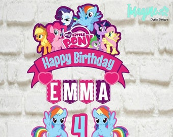 My Little Pony Topper Banner Cake Birthday Party