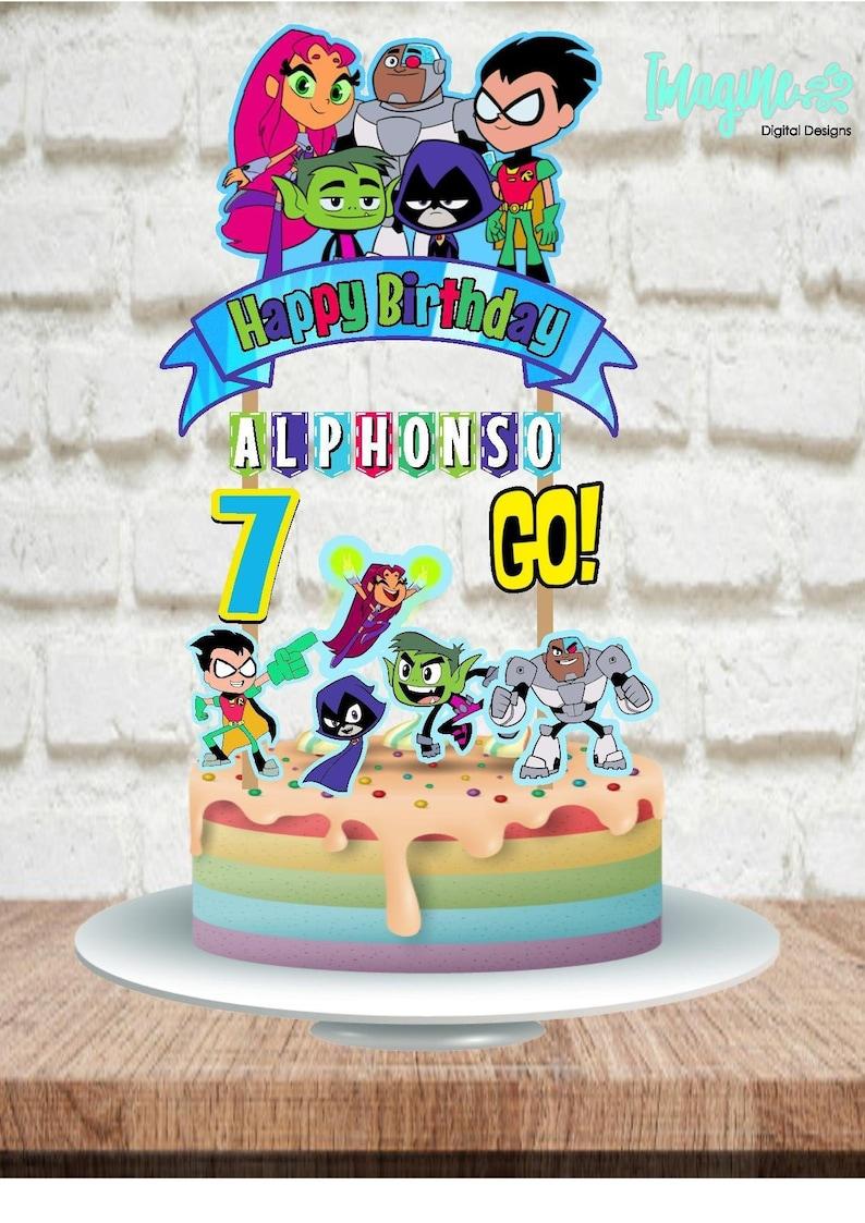 Tenn Titans Go Topper Teen Titans Go Cake Topper Teen Titans   Etsy