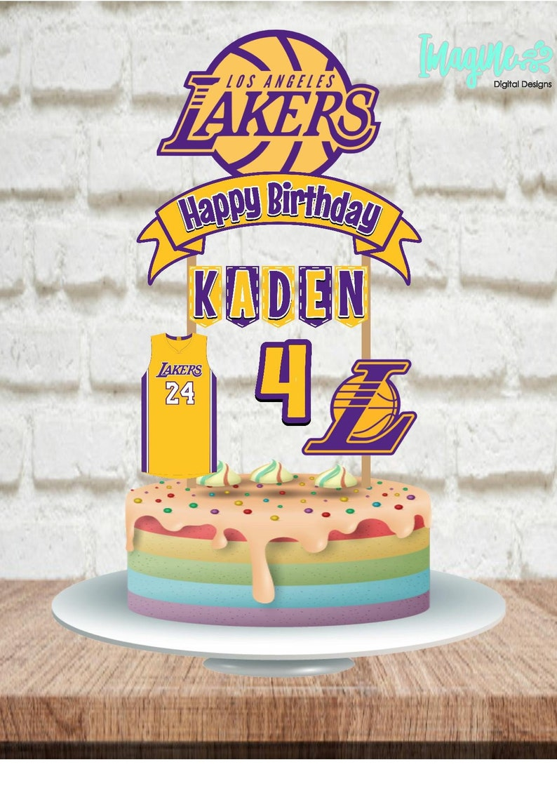 Lakers Topper Lakers Cake Topper Lakers Banner Lakers | Etsy