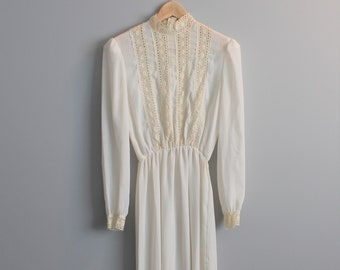 a0d62ffbd9 70s boho white dress 1970s vintage sheer cream chiffon + crochet turtleneck  midi dress small