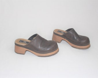 091b223476c5f9 90s platform clog mules 1990s grunge vintage vegan slip on platforms size 7