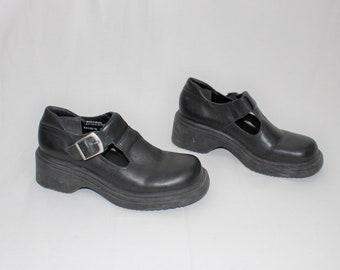 ee131d0abae 90s platforms mary janes vintage MIA black leather wedge platform shoes
