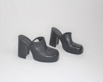 e3787e516c05 mega platform mules y2k black leather aldo slip on platforms size 8