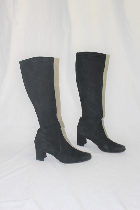 Tall black suede boots 90s minimalist