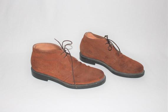 braune Wildleder Wüste Schühchen 90er Jahre minimal Toffee Leder Krawatte Schuhe, die Chukker Stiefel Größe 8,5