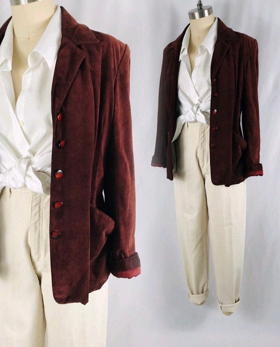 Brown suede blazer 70s boho fitted brown leather j