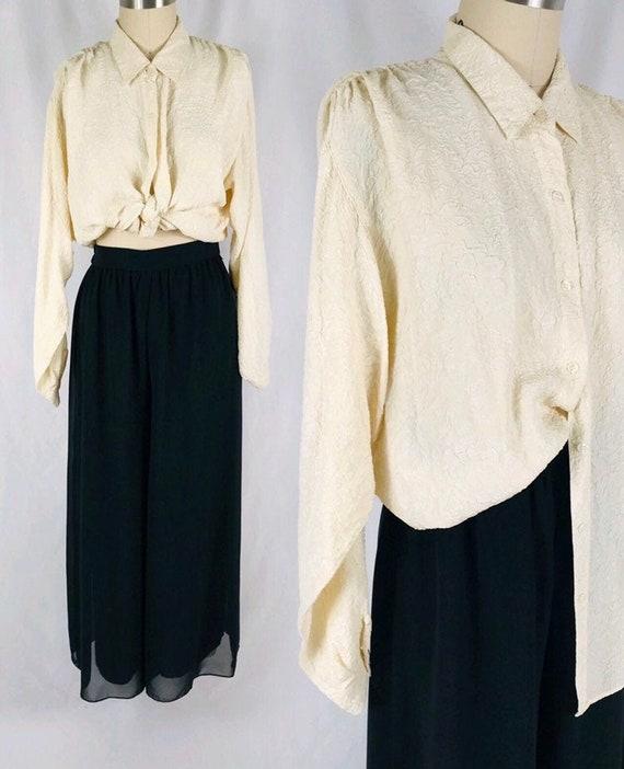 textured cream silk blouse vintage pleated shoulde