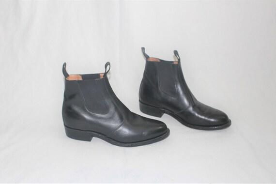 Vintage Biltrite Stiefel 60er 70er Jahre rutschen auf schwarzem Leder chelesa booties unisex minimalistische Stiefel Größe 10,5
