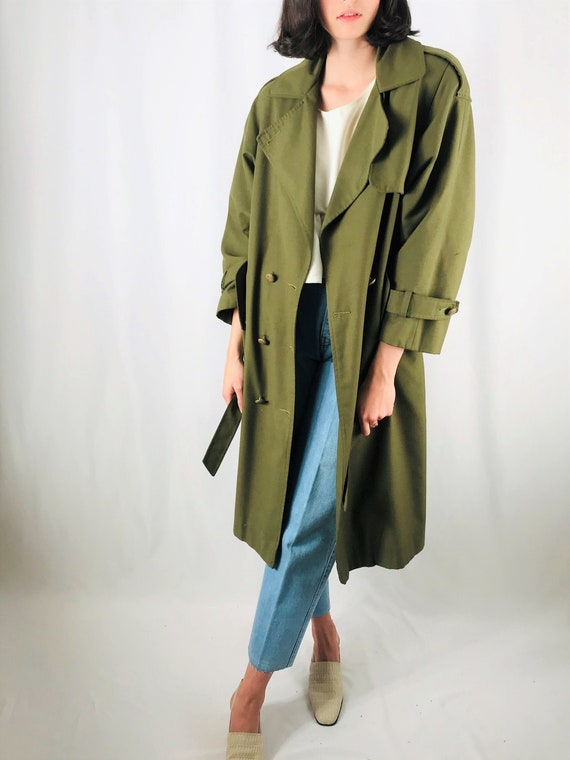 small olive green trench coat 80s classic long min