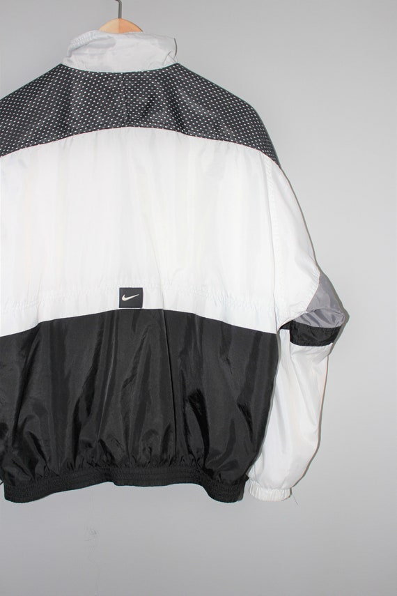 a3a1ff014a2ac nike windbreaker 90s vintage black + white zip up athletic unisex track  jacket small