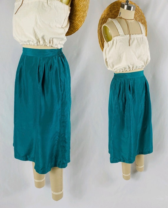 turquoise silk skirt 80s flowing blue green midi s