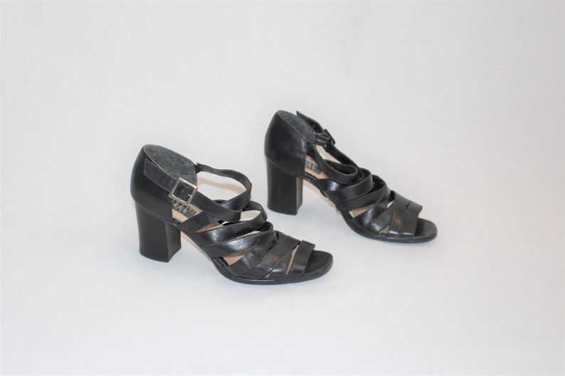 9c293fa8f1cb 90s strappy platform sandals vintage minimalist chunky black
