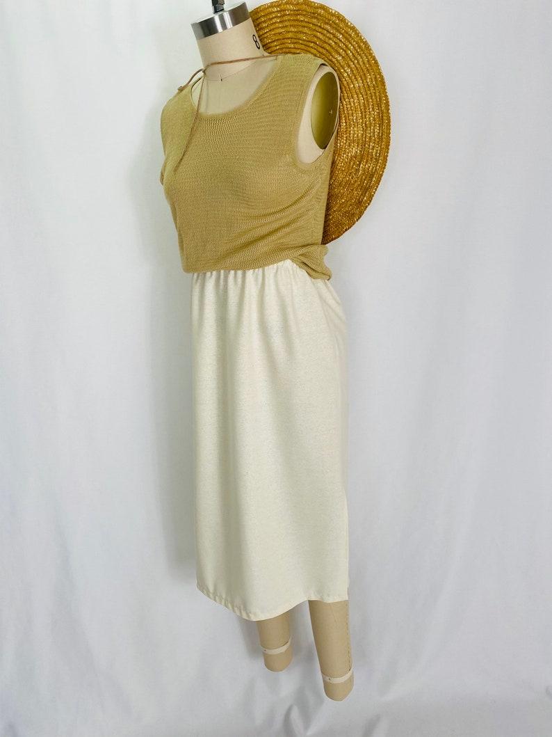 rayon knit wide strap tank 90s minimalist ochre sleeveless top S