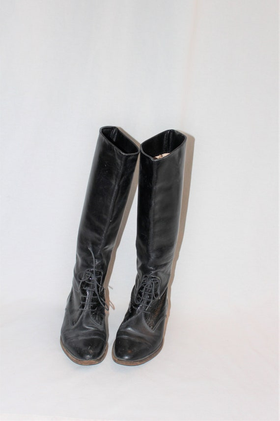 71f6eaf42fdba tall black leather riding boots 80s vintage womens minimal slouch boot size  6