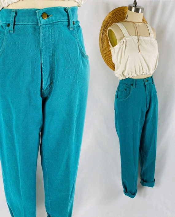 Turquoise mom jeans 80s high waisted neon green cu