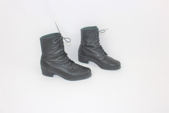 insulated lace up boots minimal vintage black leat