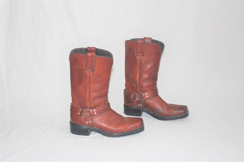 93cff9b0a6b 80s cognac leather cowboy boots vintage Joe Sanchez boho harness riding  boot size 8