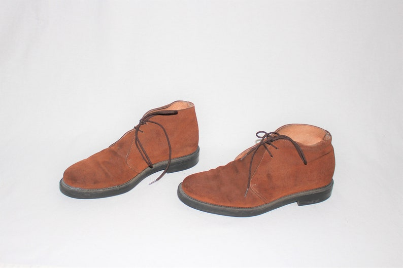 c1db116a38f6b brown suede desert booties 90s minimal toffee leather tie shoes chukka  boots size 8.5