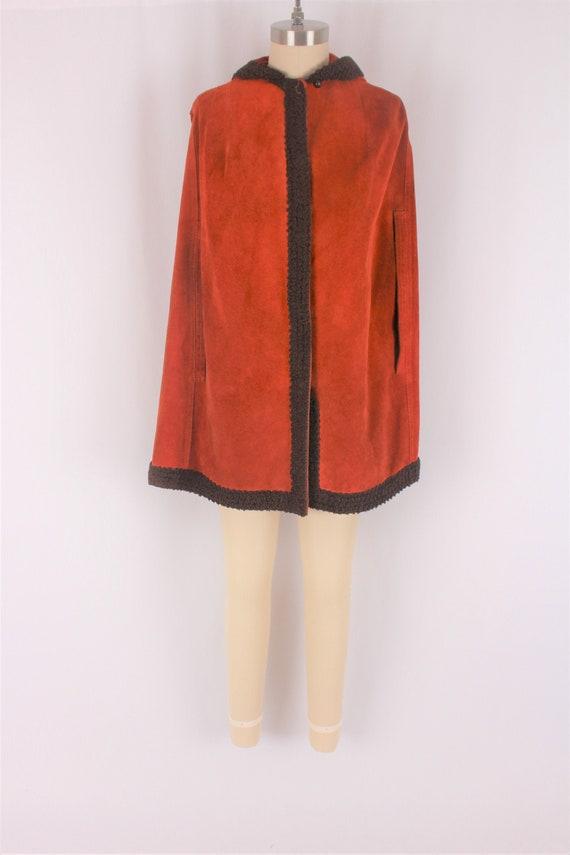 burnt orange suede cape 70s boho vintage leather p