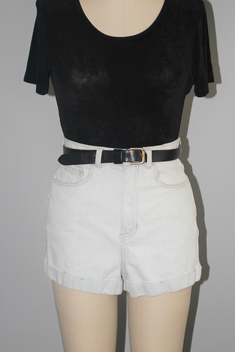minimal cuffed high waist denim shorts 90s vintage super pale light wash jean shorts size 27