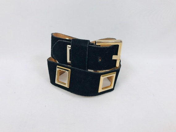 80s black suede statement belt small thick square