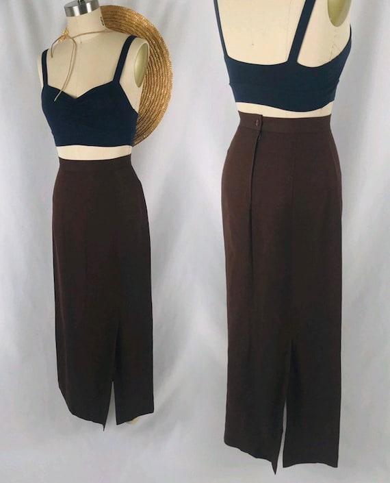 chocolate brown linen slit skirt 90s minimal high