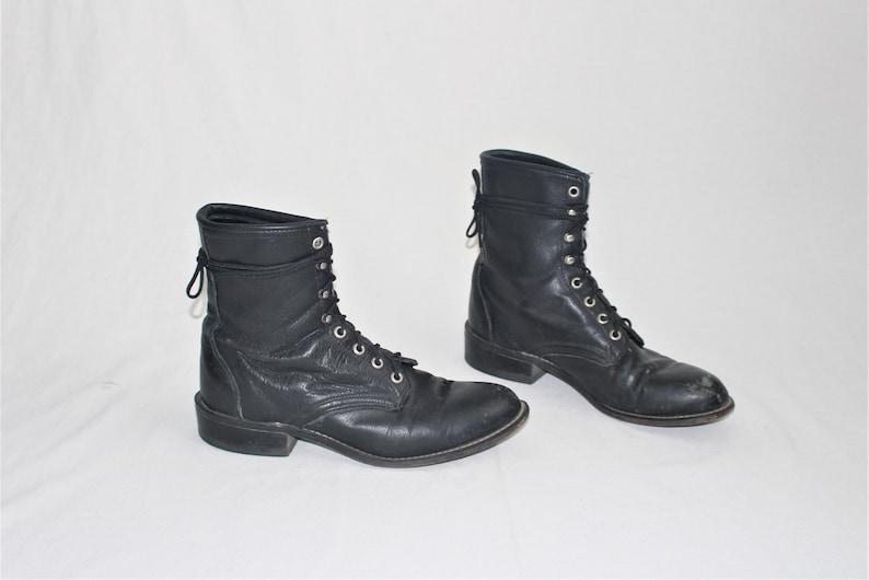 a9f224711d5e5 Vintage roper boots 80s minimalist black leather lace up | Etsy