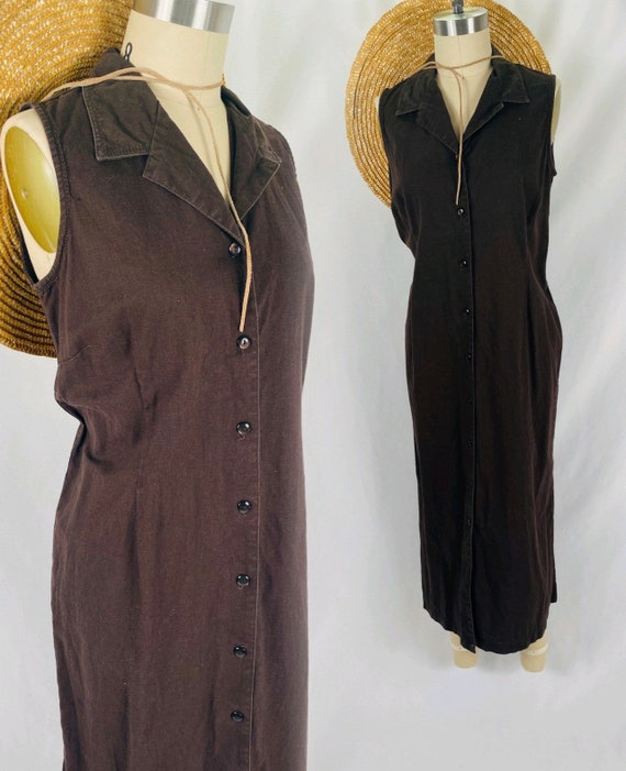 Brown linen button up midi dress 90s minimalist sl