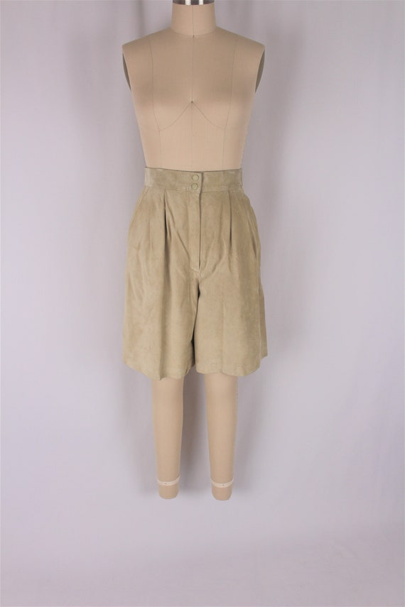suede bermuda shorts 80s sage green leather high w
