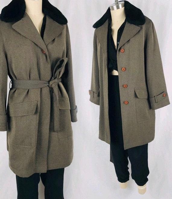 90s belted fur collar coat minimal olive green iri