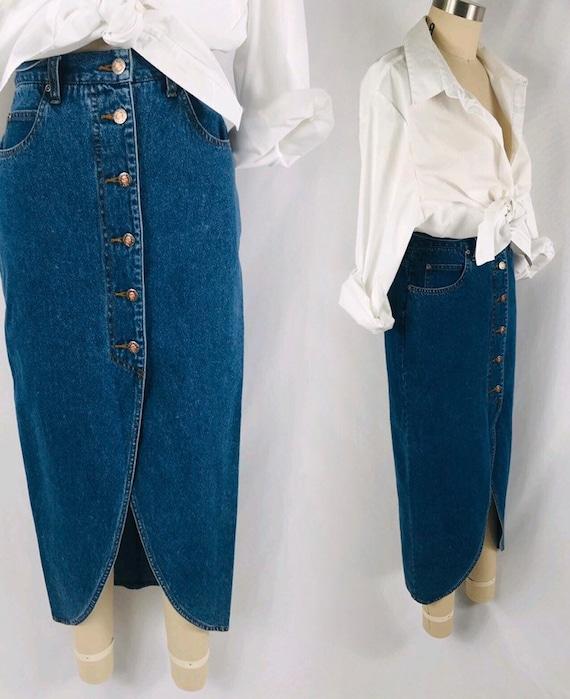 denim button front skirt 90s vintage long tulip pe