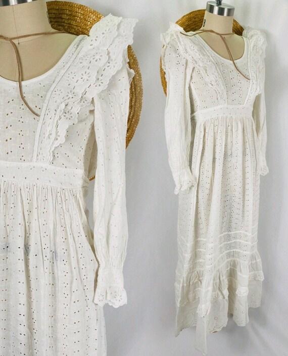 white eyelet cotton dress boho lace Edwardian wedd