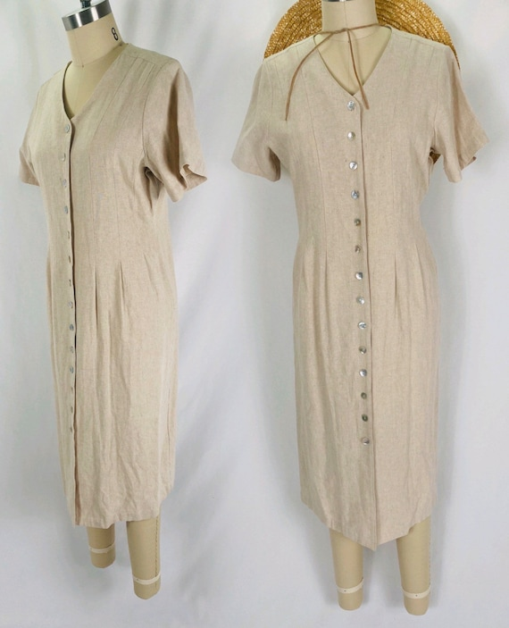 oatmeal linen button up dress 90s minimalist long