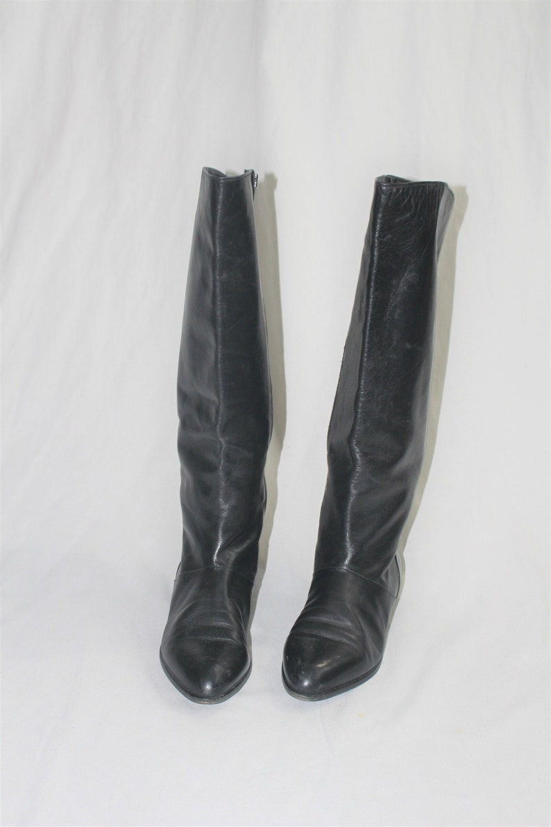 c291cf0437df4 tall black leather boots 90s vintage minimalist pointy knee high slouch  boots size