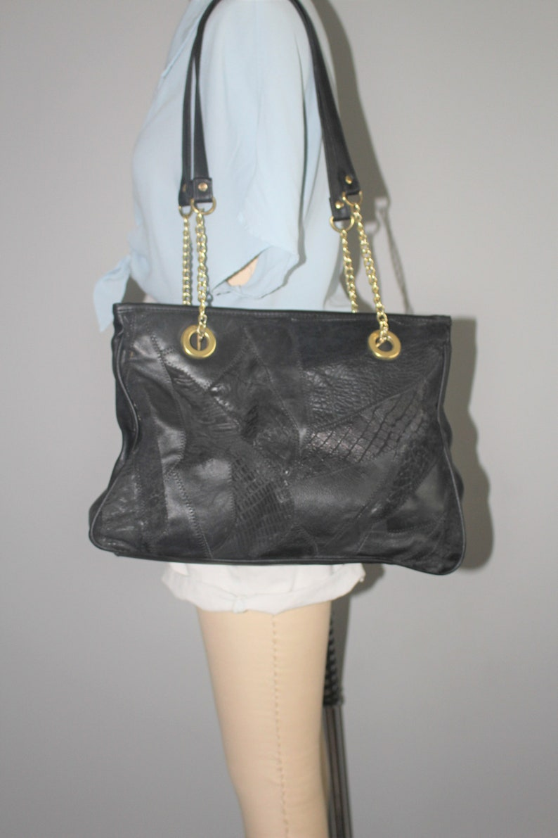 large mixed leather tote 80s black gold patchwork leather shoulder bag