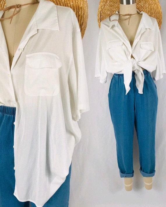 white gauze blouse minimalist vintage oversized re