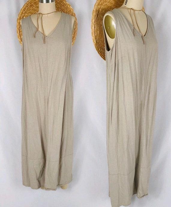 long neutral linen dress vintage mushroom colored