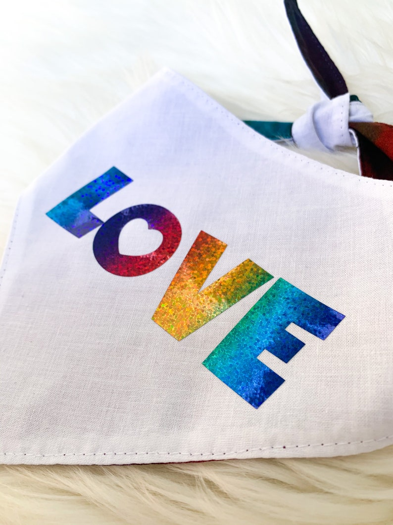 Personalized Create Your Own Tie on Scarf Love is Love Dog Bandana Pride Rainbow Color Splash Tie Dye
