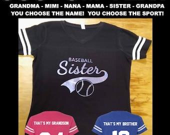 ba313eb2 Custom Grandma Sports Shirts - That's My Grandson: Baseball, Football,  Softball Grandma - Nana Shirt - Custom Glitter Sports Jerseys